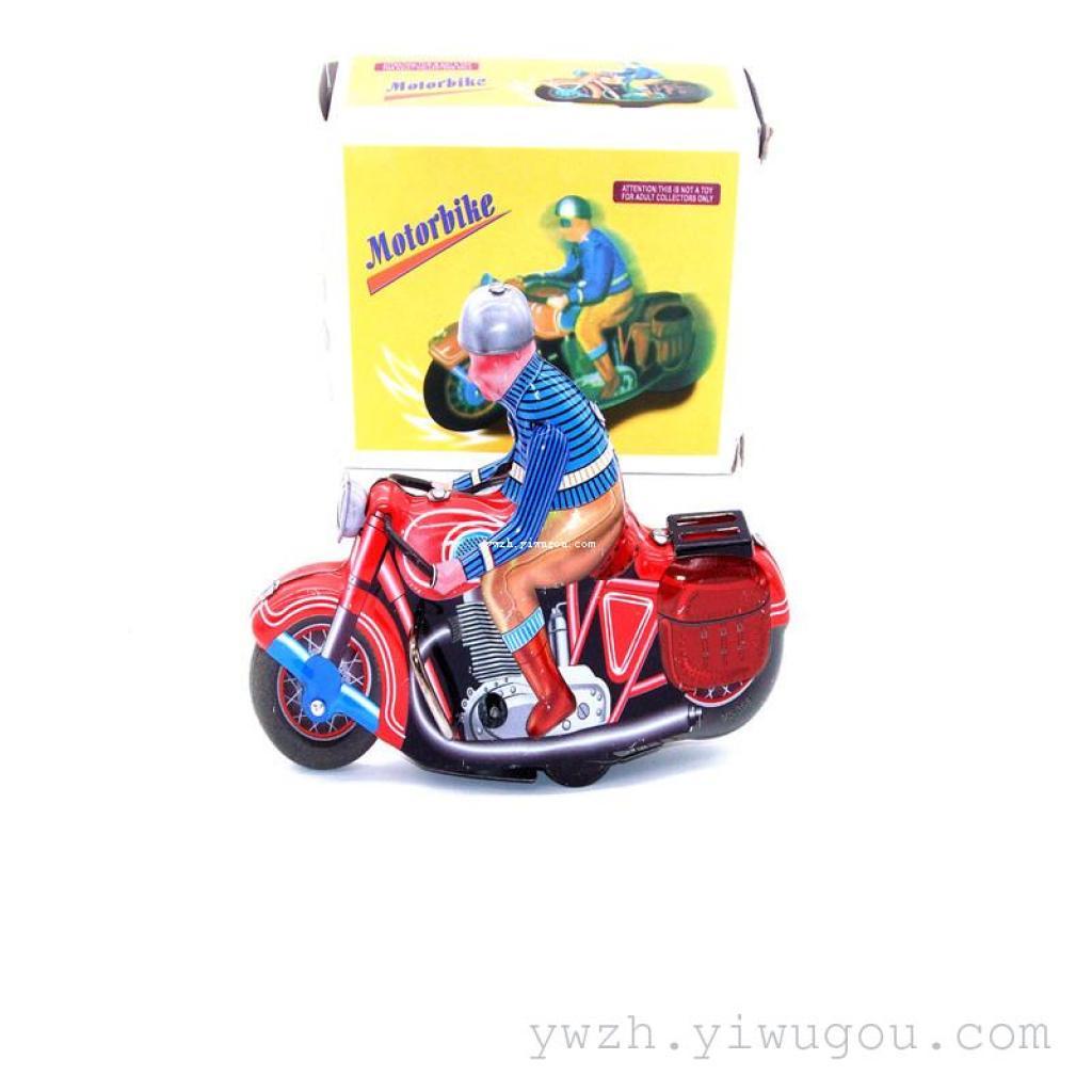 摩托车 80后怀旧上链铁皮玩具 发条玩具机器人图片