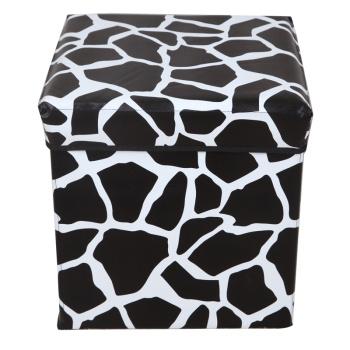 黑白石頭紋正方形收納凳