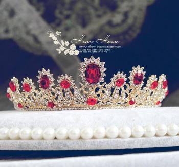 欧式女王红色皇冠 新娘结婚大皇冠头饰复古饰品
