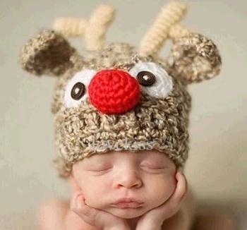 婴儿毛线帽 宝宝帽子 手工宝宝帽 儿童百搭针织帽 鹿角帽
