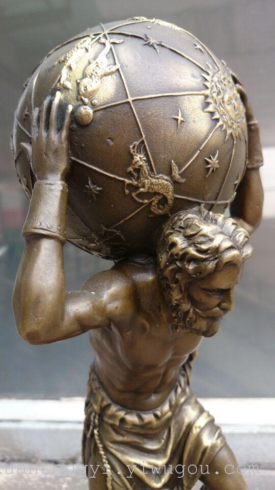大理石底座纯铜欧式希腊宙斯抗地球摆件
