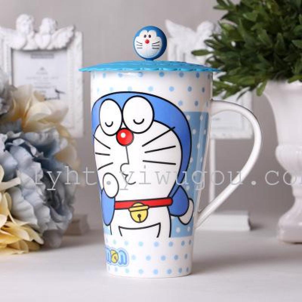创意陶瓷彩色卡通马克杯 硅胶盖动物杯 水杯 办公室口杯