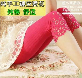New special Korean version of pure cotton openwork flower cropped jeans leggings