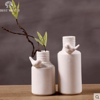 Burning of two-piece bird ceramic vases home decoration modern minimalist fashion white craft ceramic vase
