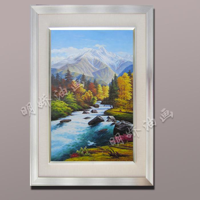 正品纯手绘欧式油画客厅玄关古典山水风景装饰画