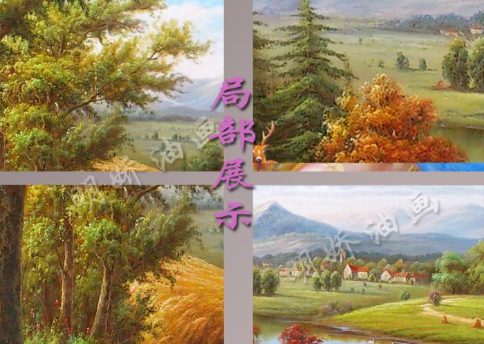 欧式山水风景客厅玄关大幅简欧壁画纯手绘油画