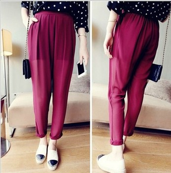Summer's new Candy-colored lace waist casual chiffon pleats pants leggings