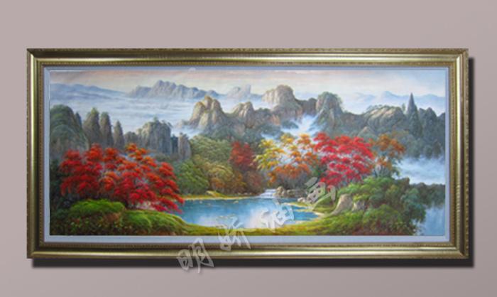 欧式古典山水风景聚宝盆油画酒店会所客厅装饰画