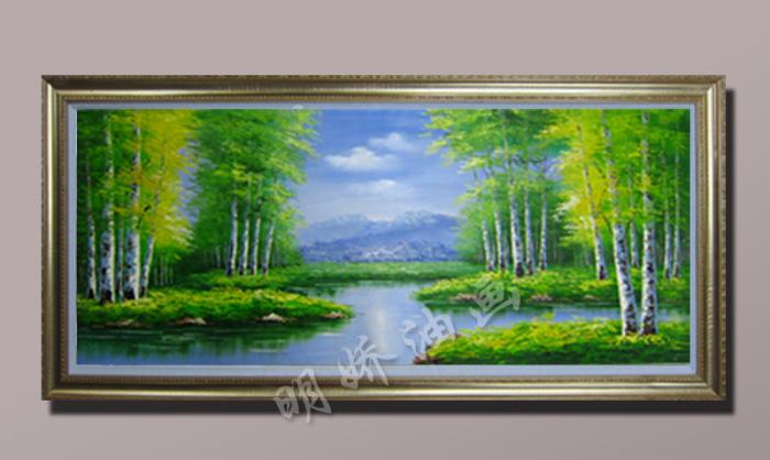 纯手绘客厅挂装饰画欧式风景油画玄关白桦林油画