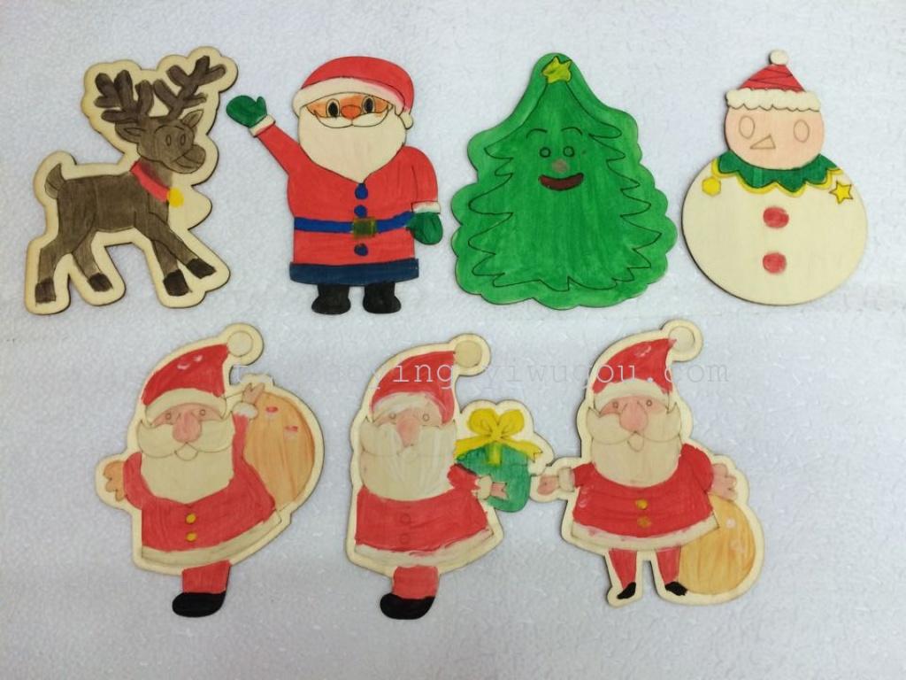 圣诞节diy彩绘木片小挂件圣诞老人