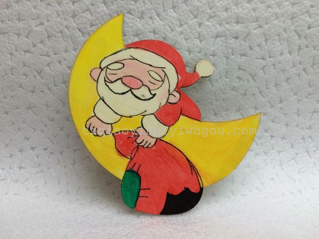 圣诞节diy彩绘木片圣诞老人