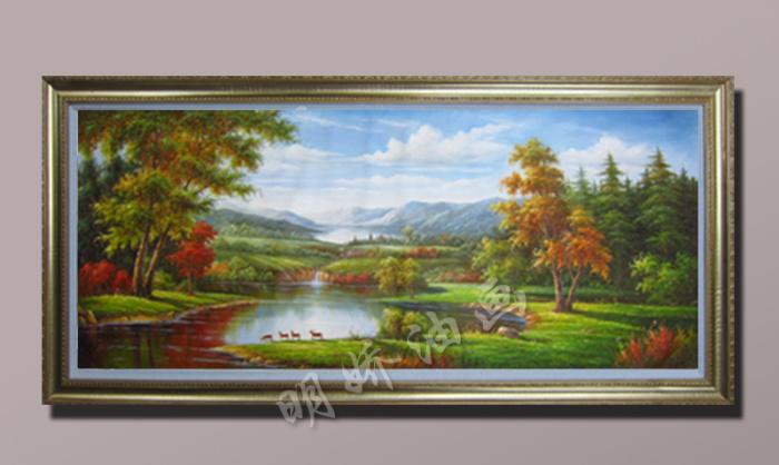 歐式客廳玄關古典山水風景裝飾畫純手繪聚寶盆油畫