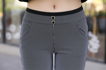 2015 summer foot wear outside trousers vertical stripes, black and white pencil-thin pants spring pants women