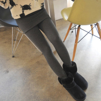 Black Korean women's trousers wearing bottom culottes suede thickening bag buttocks fake two pieces of underwear