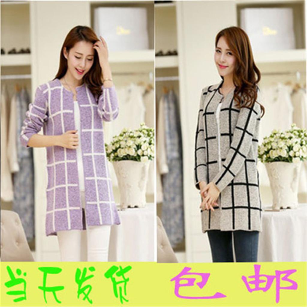 韩版新款针织衫女开衫中长版大格子披肩外套