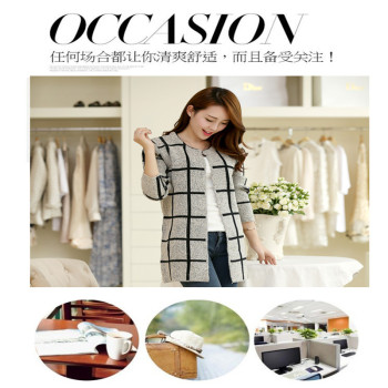 In the Korean version of the new fall/winter thick sweaters women's Cardigan long Plaid ladies sweater shawl coat