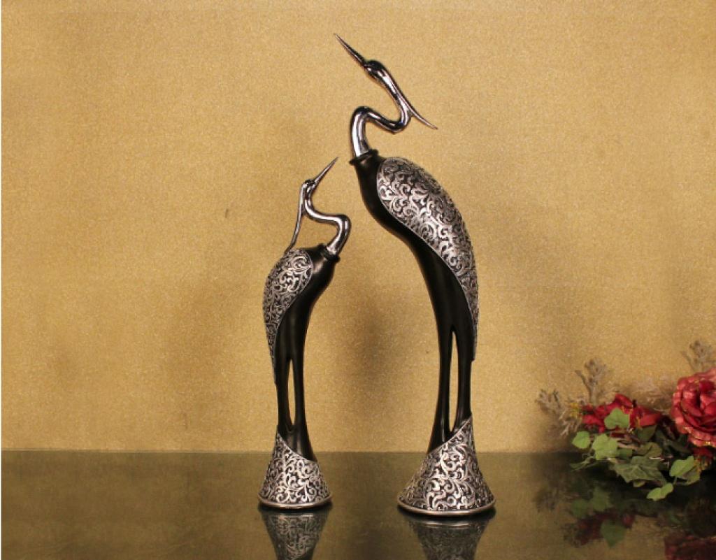 欧式古典情侣仙鹤摆件 树脂工艺品 家居装饰品