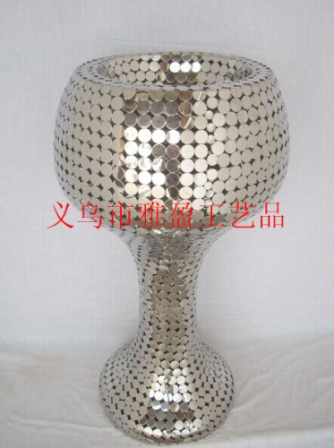 Stainless steel floor decoration vases, hotel decoration flower vases