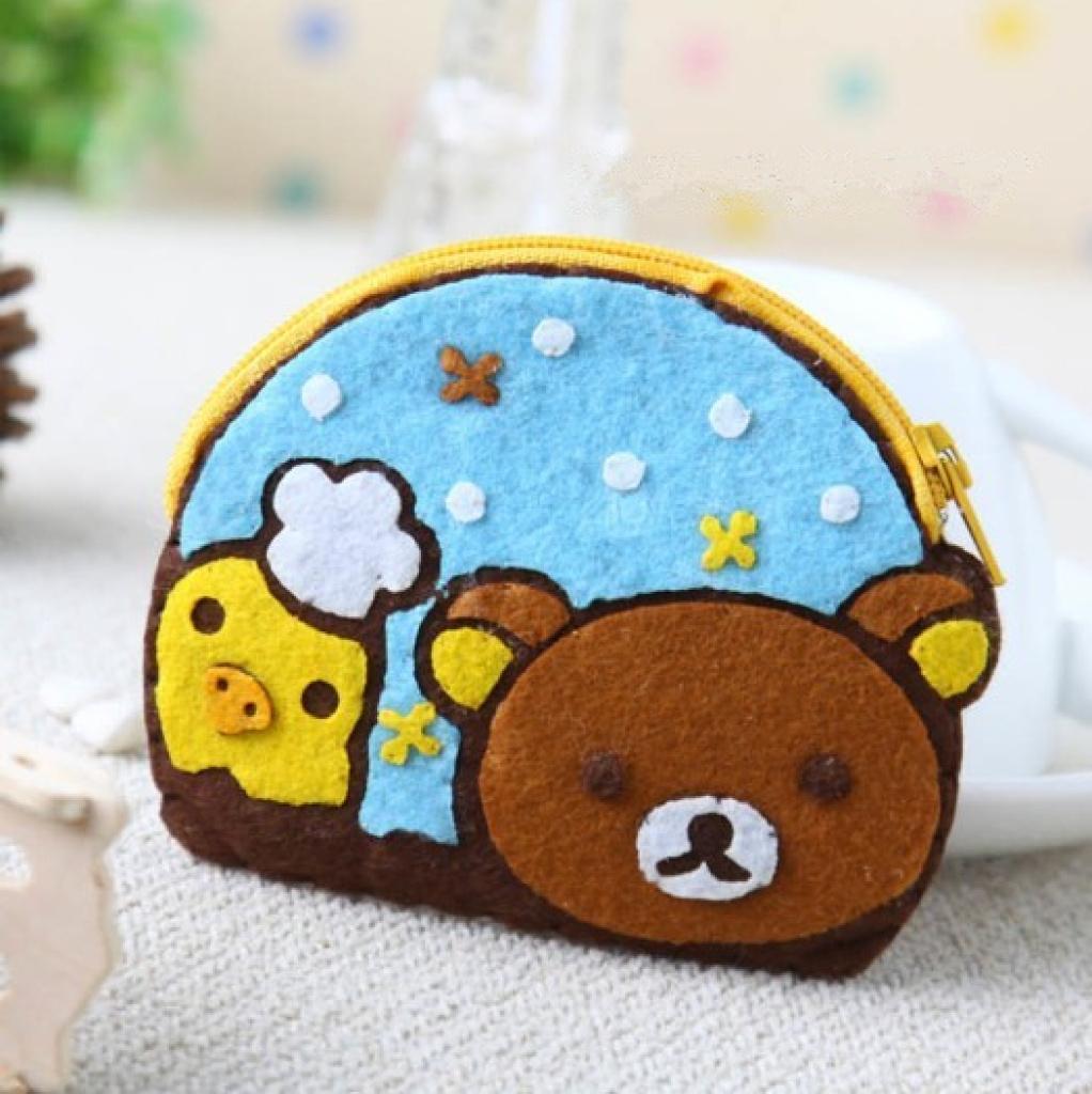 不织布材料包轻松熊零钱包卡包布艺手工diy创意礼物