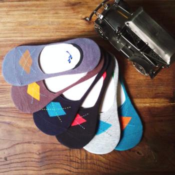 6718-1  men's cotton socks boat socks Korean version of the diamond light of Harajuku folk style silicone non-slip