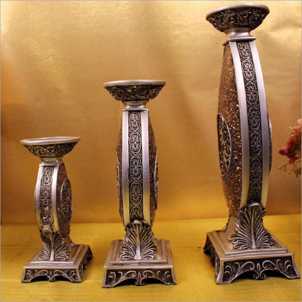 欧式复古烛台 创意家居饰品 树脂工艺品