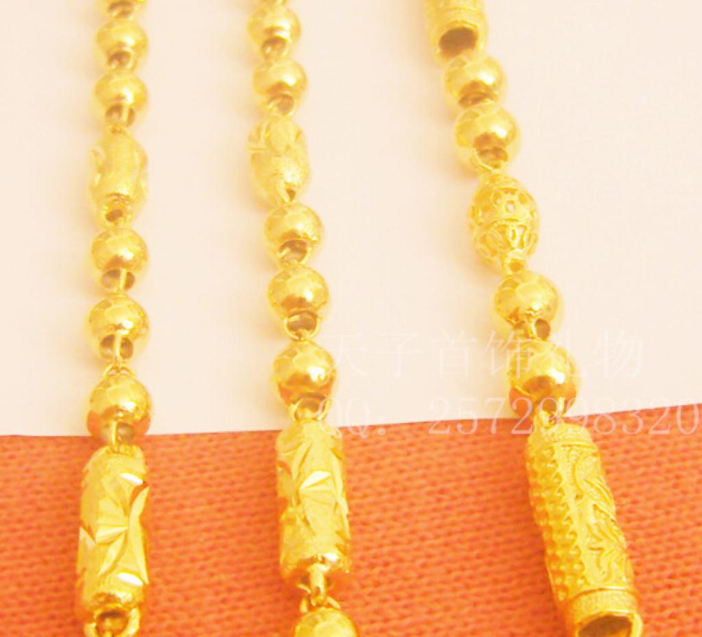 镀黄金项链男 镀金空心圆柱链子粗送男友礼物镂空加长龙头项链细