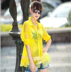 Thin transparent lace long sleeve Sun suit