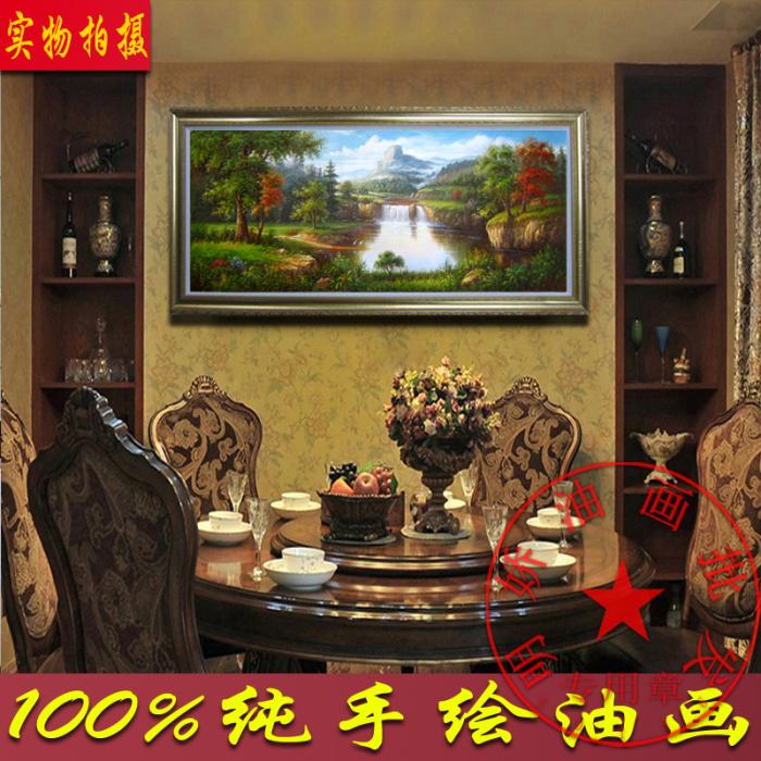 纯手绘欧式客厅玄关装饰画欧式聚宝盆风景油画