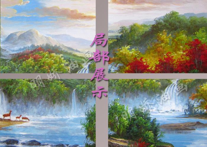 油画风景纯手绘画欧式客厅装饰画手工山水聚宝盆油画