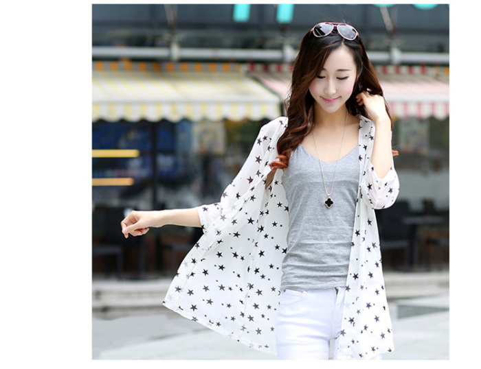 Star chiffon shirt Cardigan shawl
