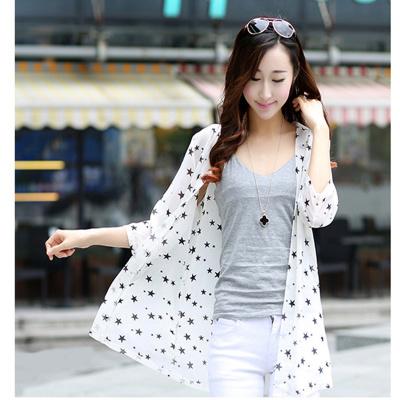 Ms summer styles in Europe and five-pointed stars chiffon shirt Cardigan shawl chiffon print Sun dress