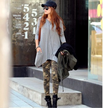 2015 thin leggings skinny stretch in spring and summer milk silk pants Camo