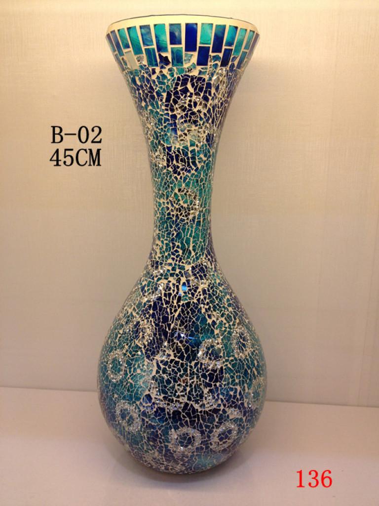 欧式碎玻璃花瓶手工马赛克花瓶摆件
