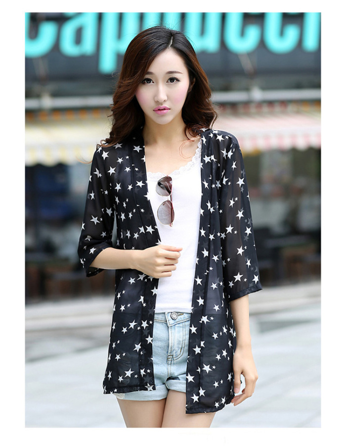 Star print chiffon sun protection clothing