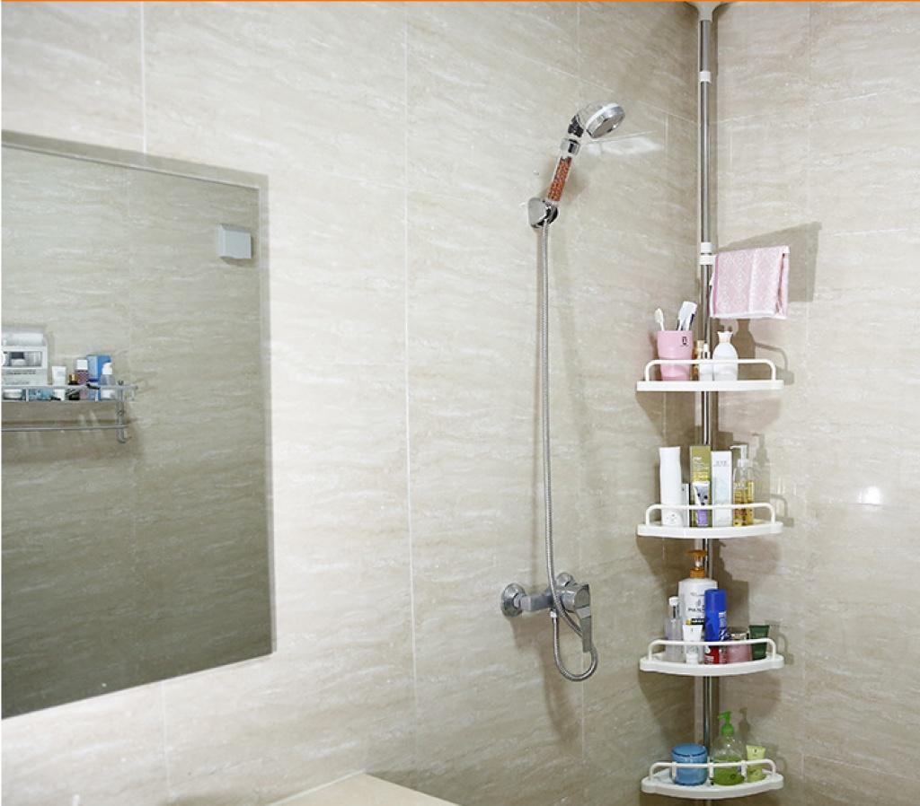 顶天立地不锈钢浴室置物架 卫生间角落收纳架 可伸缩三角架