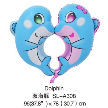 厂家直销 氢气球批发 铝膜气球----新款蓝色双海豚