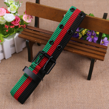 Wholesale 3-color polyester/cotton knitted fabric pin buckle belt