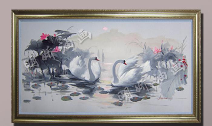 欧式别墅客厅玄关过道装饰画纯手绘荷花天鹅湖油画