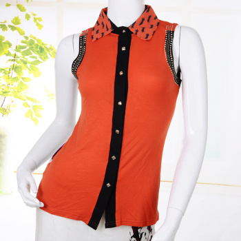 Printing fashion ladies T-shirts sleeveless cardigan shirt