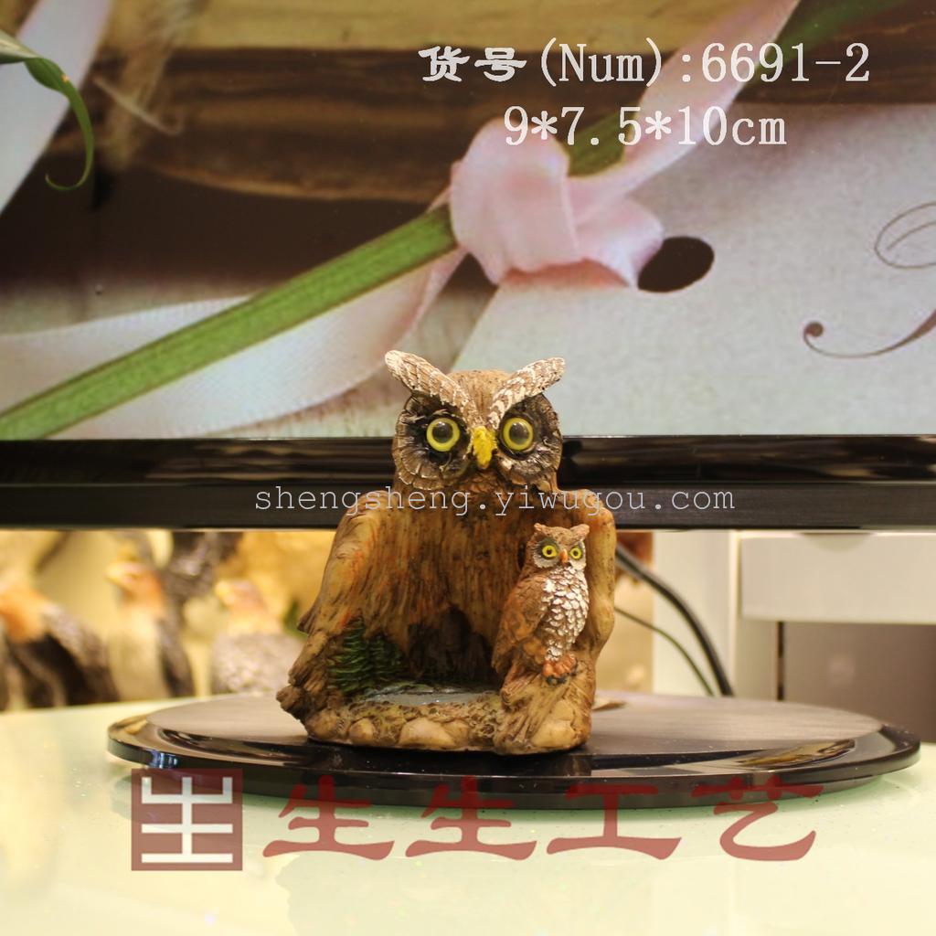 树脂写实动物工艺摆件 欧式风树洞猫头鹰小号6691