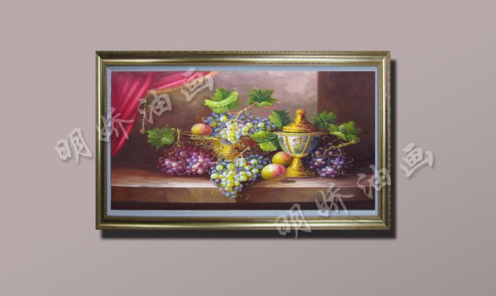 手绘油画葡萄水果静物餐厅手工壁画欧式装饰画