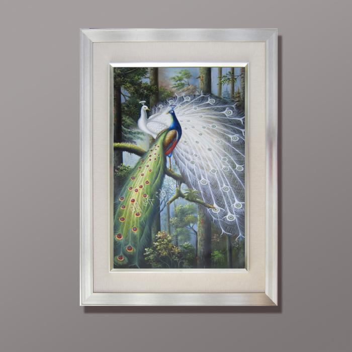 爆款玄关装饰画客厅欧式油画芯纯手绘孔雀动物油画