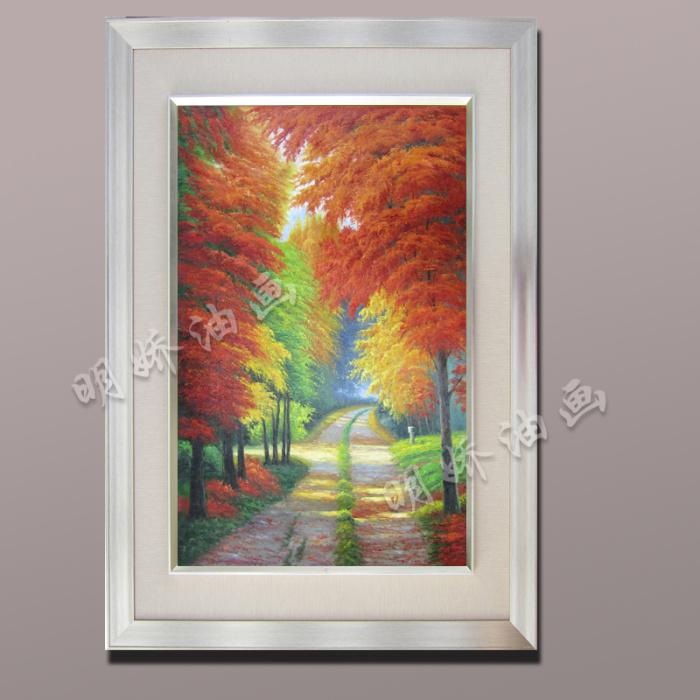 纯手绘油画风景发财树黄金大道满地树林竖版装饰画油画