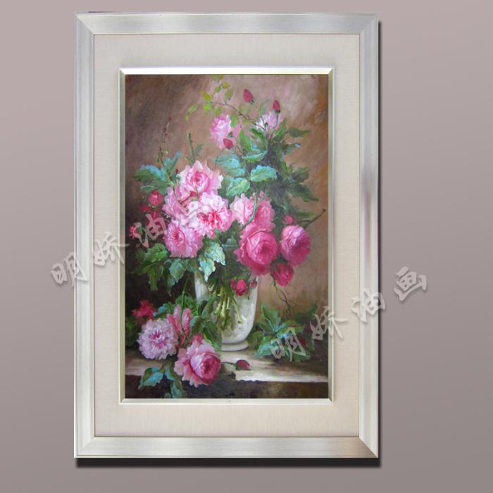 高档欧式纯手绘油画玄关装饰画卧室定制花卉油画