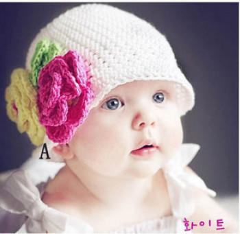 新款手工编织宝宝帽子 韩版儿童帽子 婴儿帽子 公主帽 毛线帽