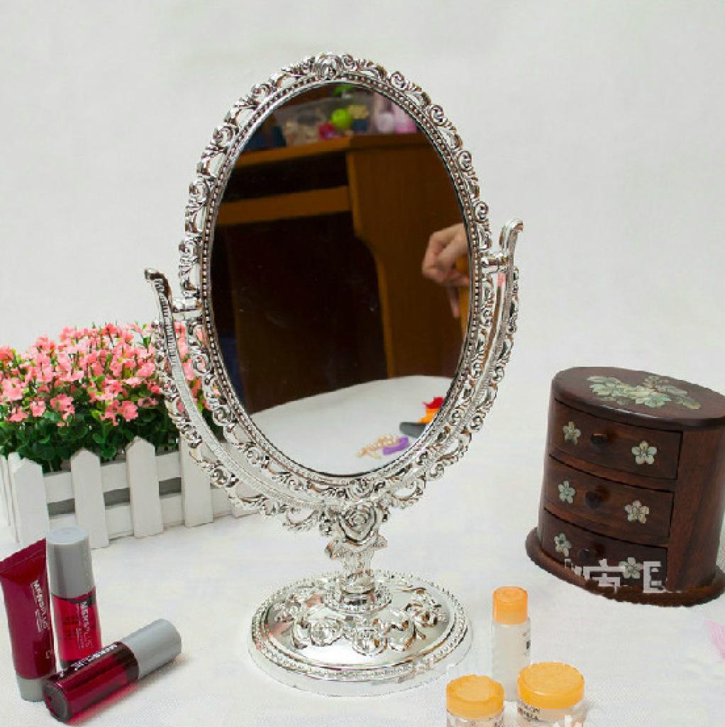 欧式复古蔷薇花风格复古旋转式椭圆型蔷薇花双面镜台