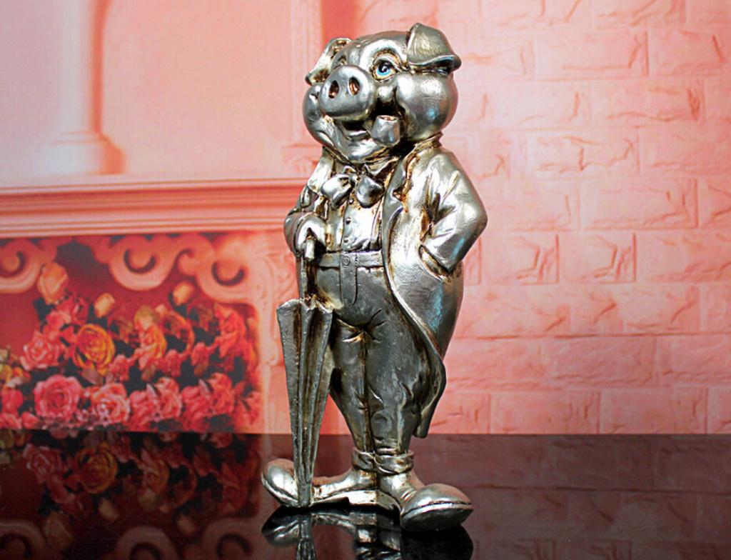 欧式树脂工艺摆件创意打伞小猪家居装饰创意礼品