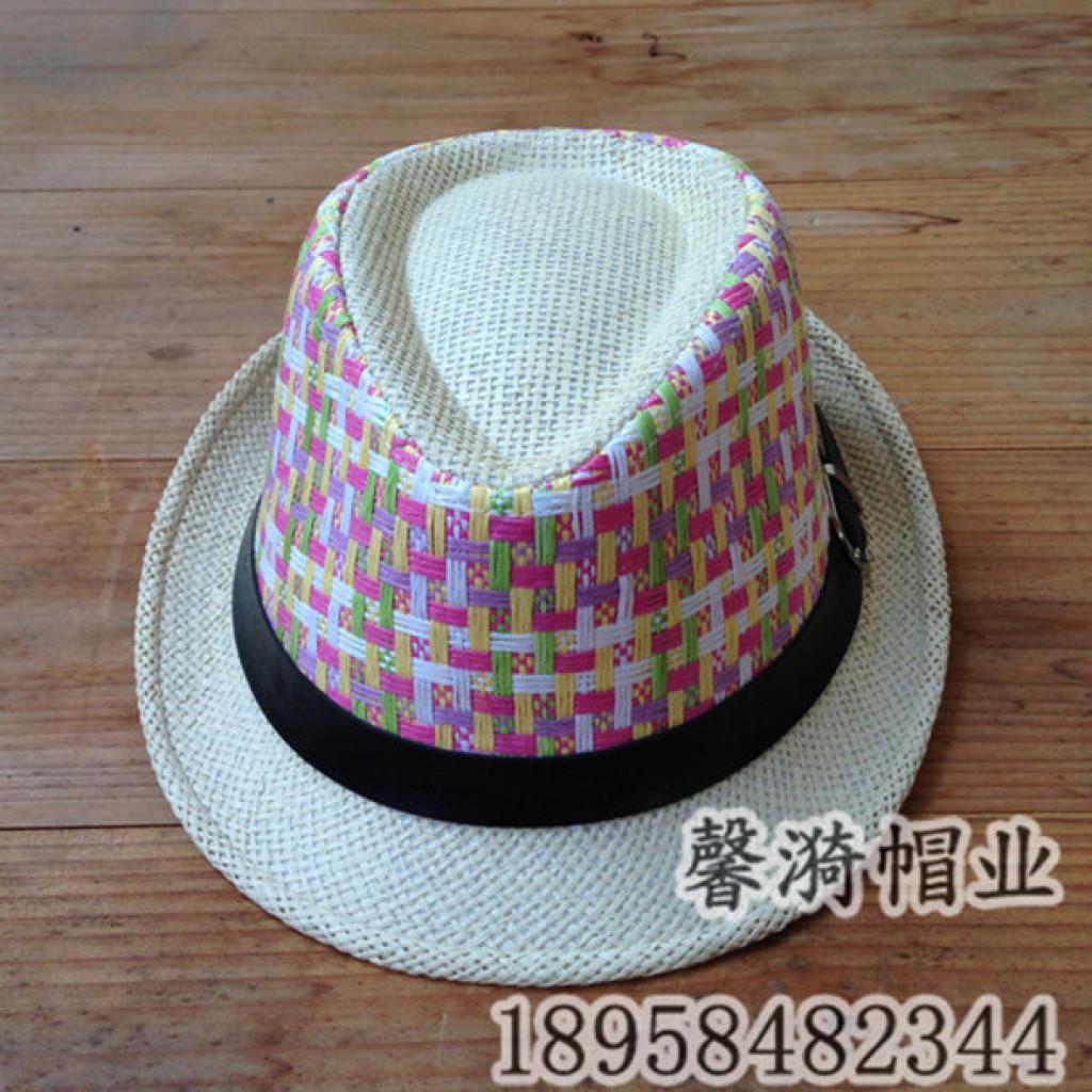 韩版格子编织儿童礼帽 时尚爵士帽帽子