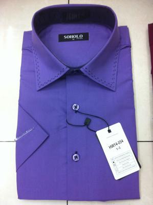 2015 spell neck men's short sleeve shirts leisure fashion slim men's shirts
