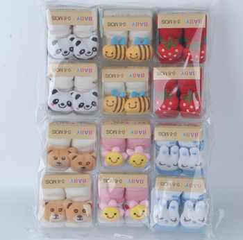 12 pairs/lot =24 pieces Baby Socks With Animal Baby Outdoor Shoes Baby Walking Children Sock Kid's Gift For 0-12month